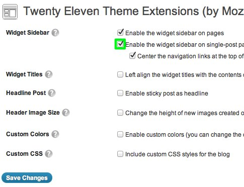 Twenty Eleven Theme Extensions