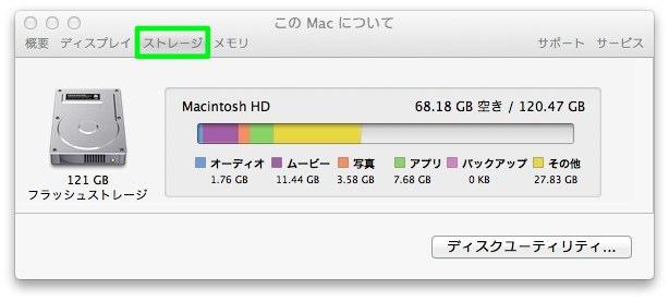 ストレージタブをクリックしてMacのディスク容量を確認する