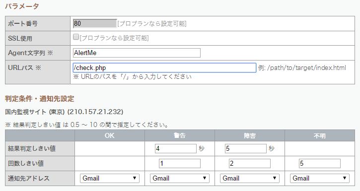 URLパスはcheck.php。しきい値もこの図のように設定する。