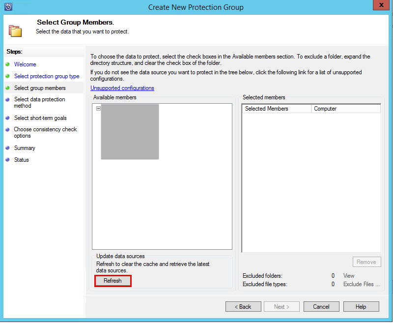Protection Groupに保護対象ボリュームを追加する際に,サーバー名を選択した状態で,Refreshボタンをクリックする