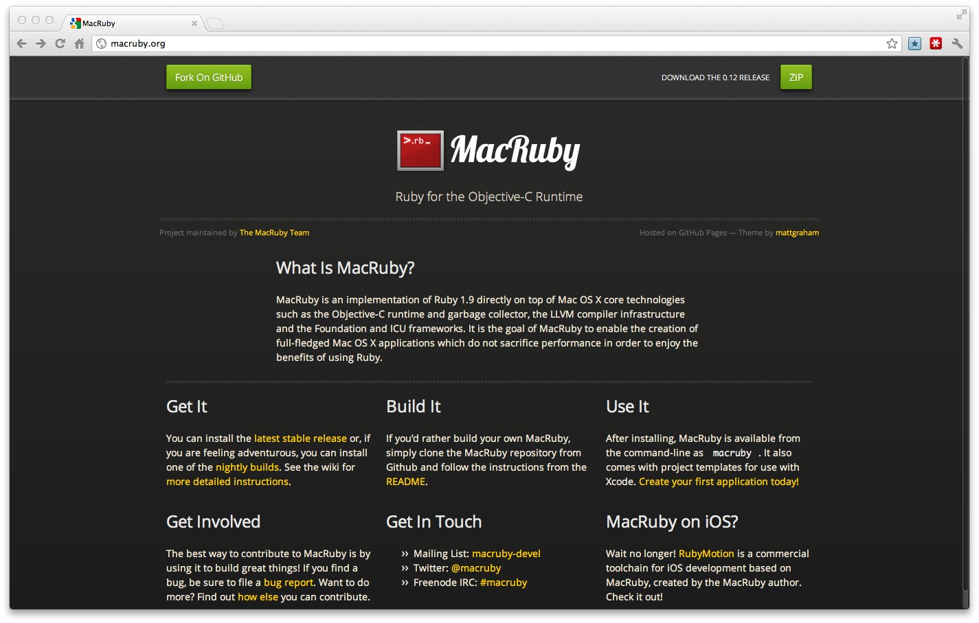 MacRubyのウェブサイトがリニューアルしました