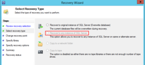 Recover to any instance of SQL Serverが選択できない