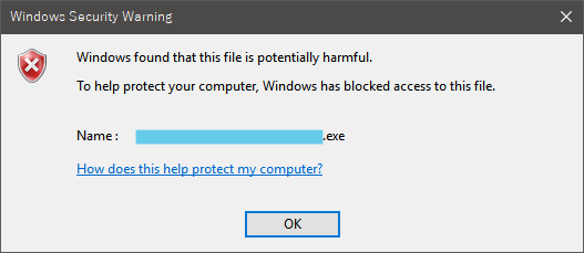 Windows found that this file is potentially harmful.
