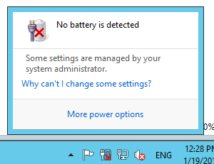 No battery is detectedというタスクトレイ上のアラート