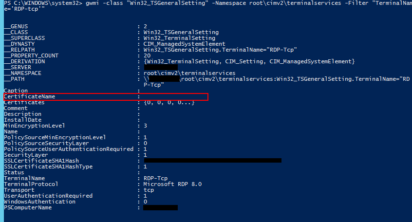 CertificateNameの値が空欄か,自分のサーバー名になってしまっている。
