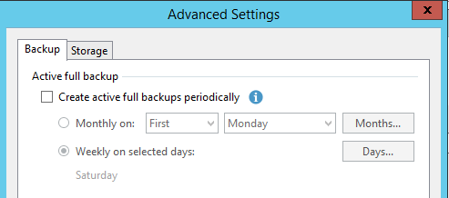 Active full backupタブのCreate active full backups periodicallyにチェックしているかどうか