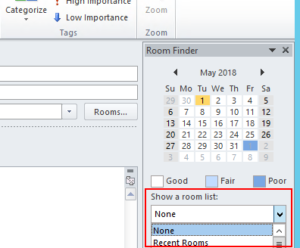 Outlookの「会議室の一覧」機能