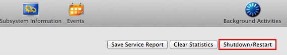 Subsystem InformationボタンからShutdown/Restartのボタンをクリック