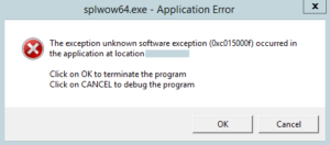 The exception unknown software exception (0xc015000f) occurred in the application at location