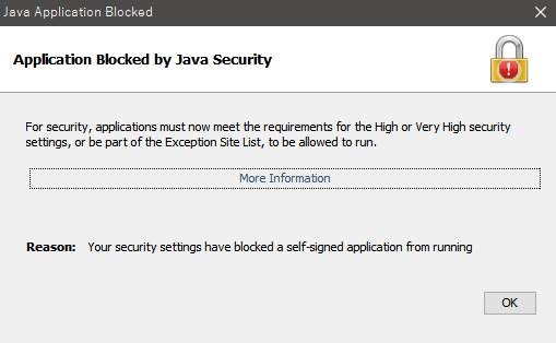 Application Blocked by Java Security