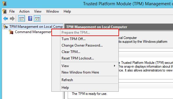 tpm.mscからTPMが有効になっているかを確認する