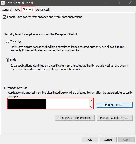 Exception Site Listにブロックを回避したいURLを入力する