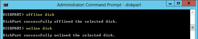 offline diskしてからonline diskする