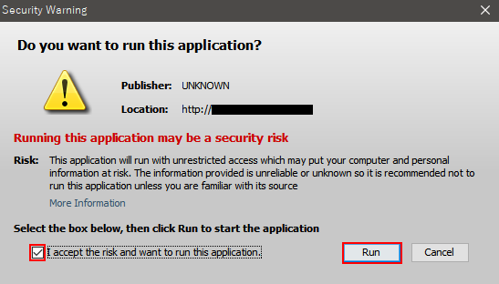 I accept the risk and want to run this application.をチェックする