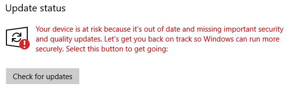エラー your device is at risk because it s out of date and missing