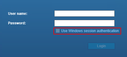 Use windows session authenticationのチェックボックスがグレーアウトしている