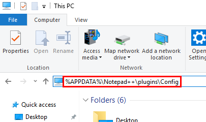 %APPDATA%\Notepad++\plugins\Configを開く