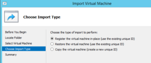 Register the virtual machine in-place (use the existing unique ID)