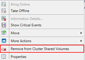 Remove from Cluster Shared Volumesを選択する。