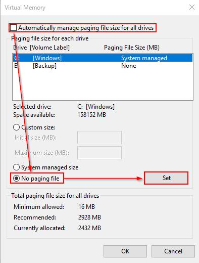 ページファイルを無効化する