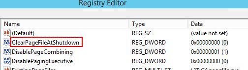 ClearPageFileAtShutdownというレジストリを1に変更する