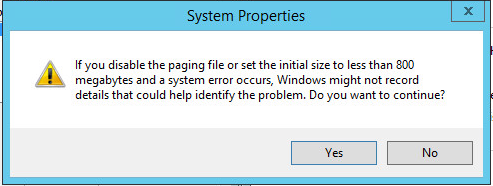 ページファイルを無効化するとでる警告