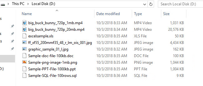 幾つかのサンプルファイルを用意した。