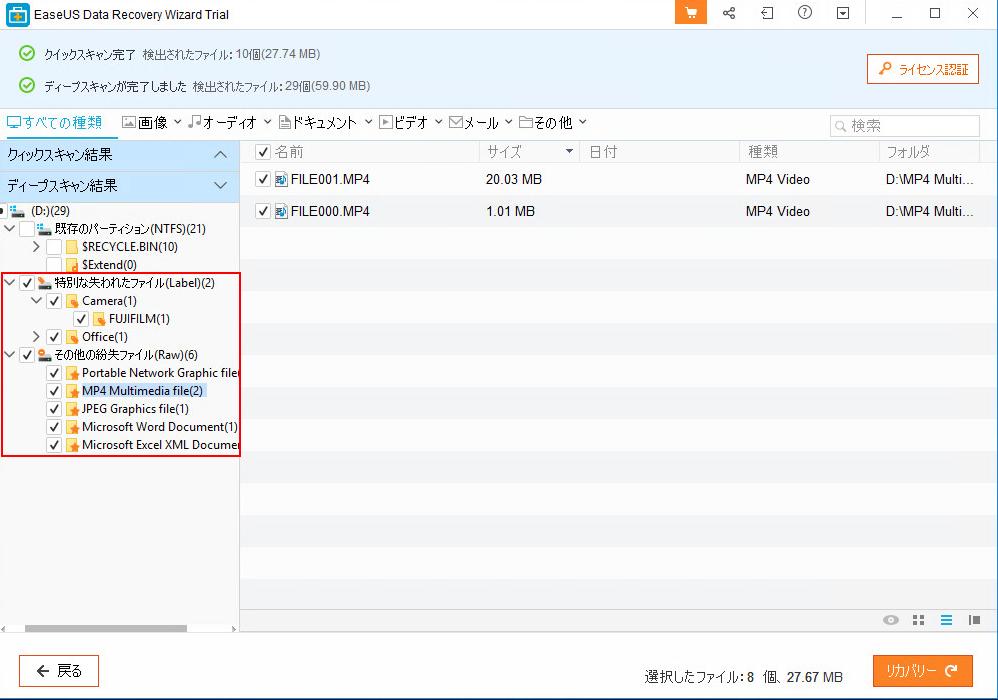 検出できたファイルはタイプごとにカテゴライズされている。