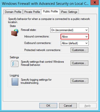 FirewallをOnにしつつ,Inboundを許可する設定にする。