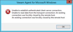 Unable to establish authenticated client-server connection