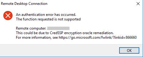 CredSSPのエラーが出てリモートデスクトップ接続できない。