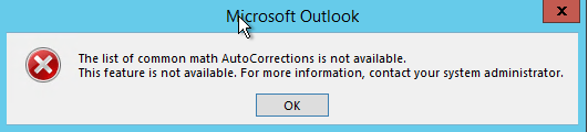 The list of common math AutoCorrections is not available.