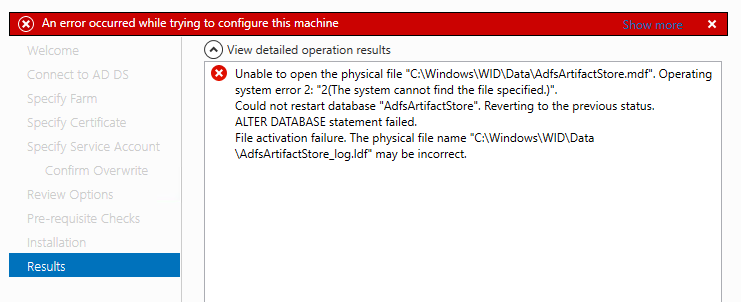 "Unable to open the physical file ""C:\Windows\WID\Data\AdfsArtifactStore.mdf"".というエラーが出る。"
