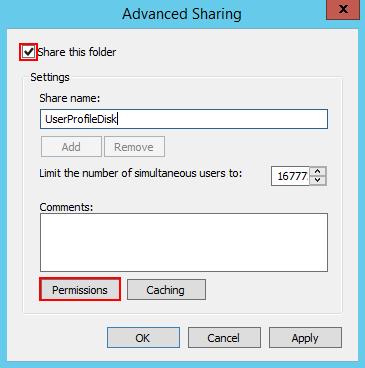 共有の詳細設定画面からPermissionsボタンをクリックする