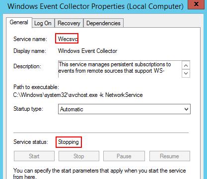 停止中ステータスになっているサービスの正式名を確認する