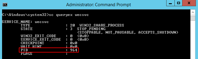 sc queryexコマンドでPIDの値を確認する