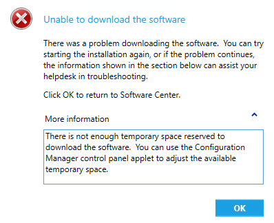 There is not enough temporary space reserved to download the software. You can use the Configuration Manager control panel applet to adjust the available temporary space.というエラーがでて,ソフトウェアがインストールできない。