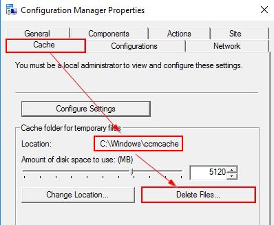 Configuration ManagerからCacheタブを確認する。