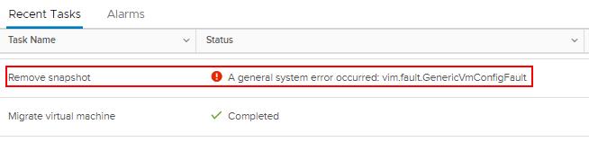 vim.fault.GenericVmConfigFaultというエラーが出てスナップショットを削除できない