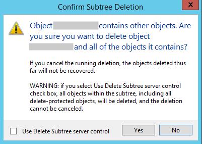 Confirm Subtree Deletion