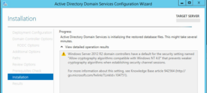 Active Directory Domain Services is initializing the restored database files. This might take several minutes.