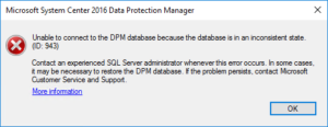 Unable to connect to the DPM database because the database is in an inconsistent state