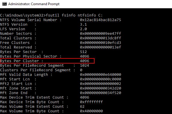 Bytes Per Clusterの項目がアロケーションユニットサイズの設定値