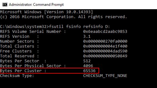 ReFSの場合もBytes Per Clusterの項目でアロケーションユニットサイズを確認できる