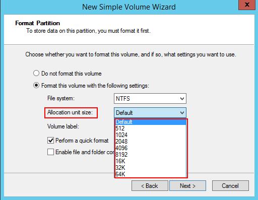 NTFSでは512から64Kまでのアロケーションユニットサイズを選択できる