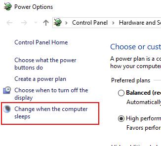 「コンピューターがスリープ状態になる時間を変更」をクリック
