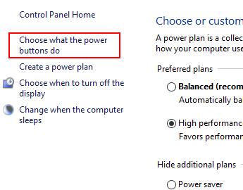 「電源ボタンの動作の選択」をクリック