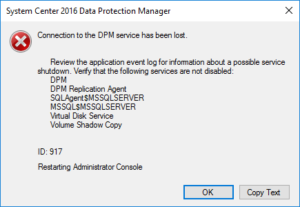 Connection to the DPM service has been lost