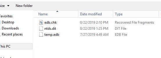 edb.chkやntds.ditやtemp.edbが生成されている