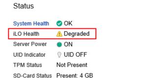 iLOのOverview画面でHealthステータスがDegradedになっている